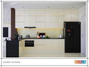 Tủ bếp Acrylic chữ L gia đình anh Bình
