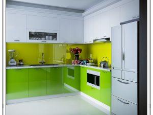 Tủ bếp Acrylic chữ L gia đình anh Hiền
