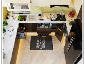 Tủ bếp Acrylic chữ U gia đình anh Việt Anh