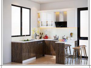Tủ bếp Acrylic chữ U gia đình chú Lĩnh