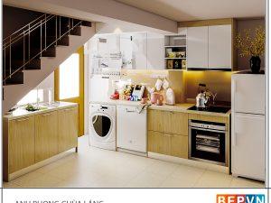 Tủ bếp Acrylic chữ L gia đình anh Phong