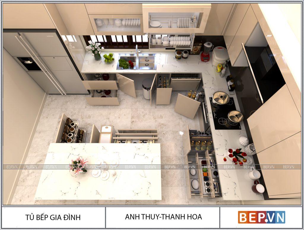 Căn bếp hiện đại và sang trọng không thể thiếu hệ thống ngăn kéo tiện lợi.
