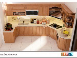 Tủ bếp gỗ Sồi Mỹ chữ L gia đình chú Hành