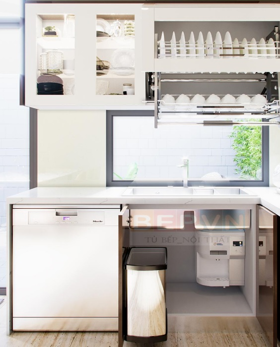 Thiết kế thùng rác thông minh giúp căn bếp luôn sạch sẽ và tiện lợi.