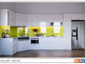 Tủ bếp Acrylic chữ L gia đình anh Hải