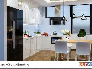 Tủ bếp Acrylic chữ L gia đình anh Hồng