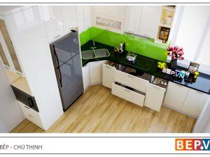 Tủ bếp Acrylic chữ L gia đình chú Thịnh