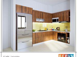 Tủ bếp Laminate chữ L gia đình chị Hạnh