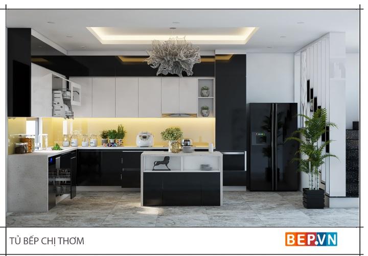Tủ bếp đảo Acrylic tông màu đen trắng sang trọng