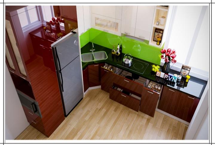 Tủ bếp Acrylic chữ L nhỏ nhắn hiện đại