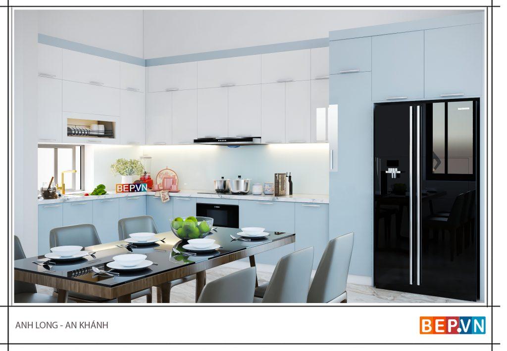 Tủ bếp Acrylic màu xanh mát mắt gia đình anh Long