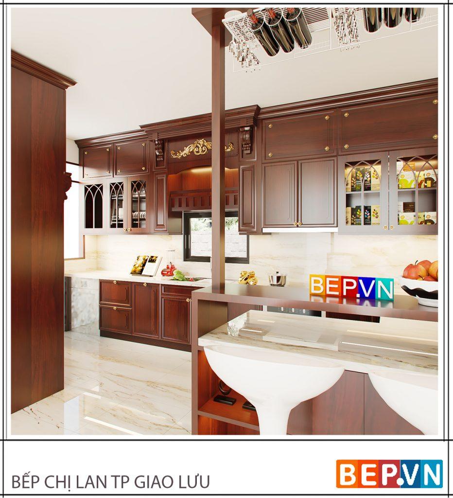 Mẫu nhà bếp tân cổ điển trên đây kết hợp với quầy bar mini rất phù hợp với những không gian có diện tích lớn và biệt thự.