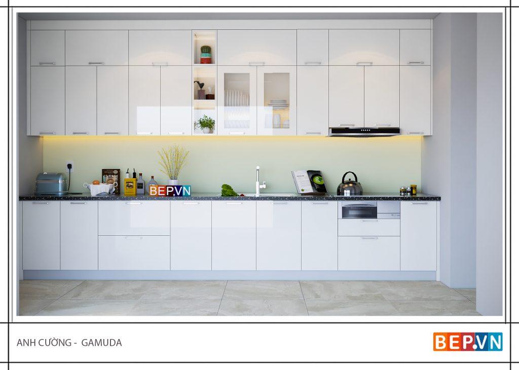 Tủ bếp dành cho chung cư hầu hết đều là tủ bếp ốp trần