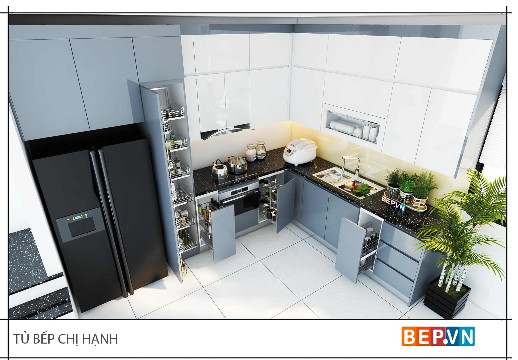 Tủ bếp ốp trần thách thức mọi không gian.