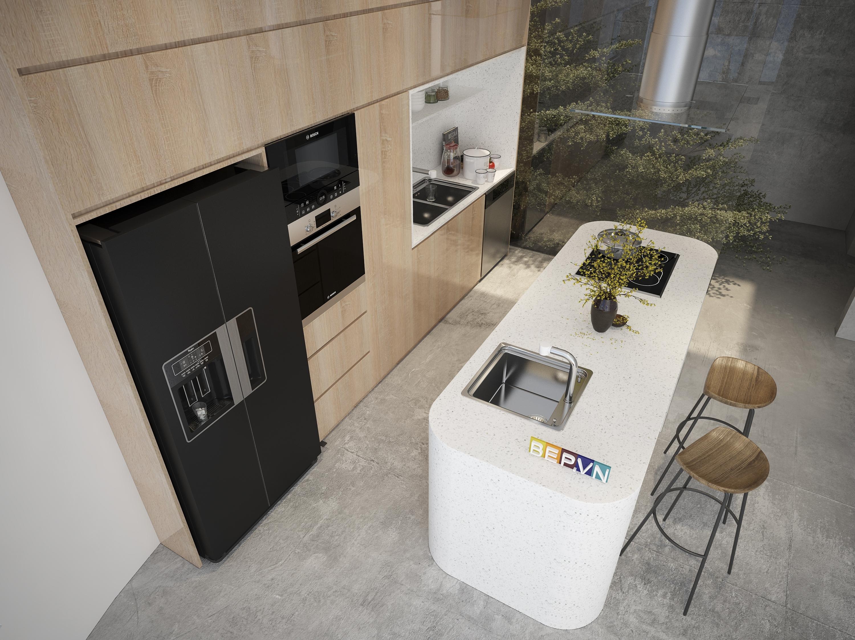 Hiện đại theo phong cách Châu Âu với thiết kế tủ bếp ốp trần cho tủ bếp đảo.