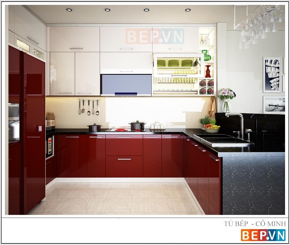 Mẫu nhà bếp đơn giản với tủ bếp có sự phối màu giữa màu trắng và màu đỏ luôn là sự lựa chọn hoàn hỏa cho những căn bếp đơn giản và ...