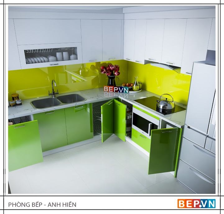 Tủ bếp Acrylci màu sắc bắt mắt gia đình anh Hiền