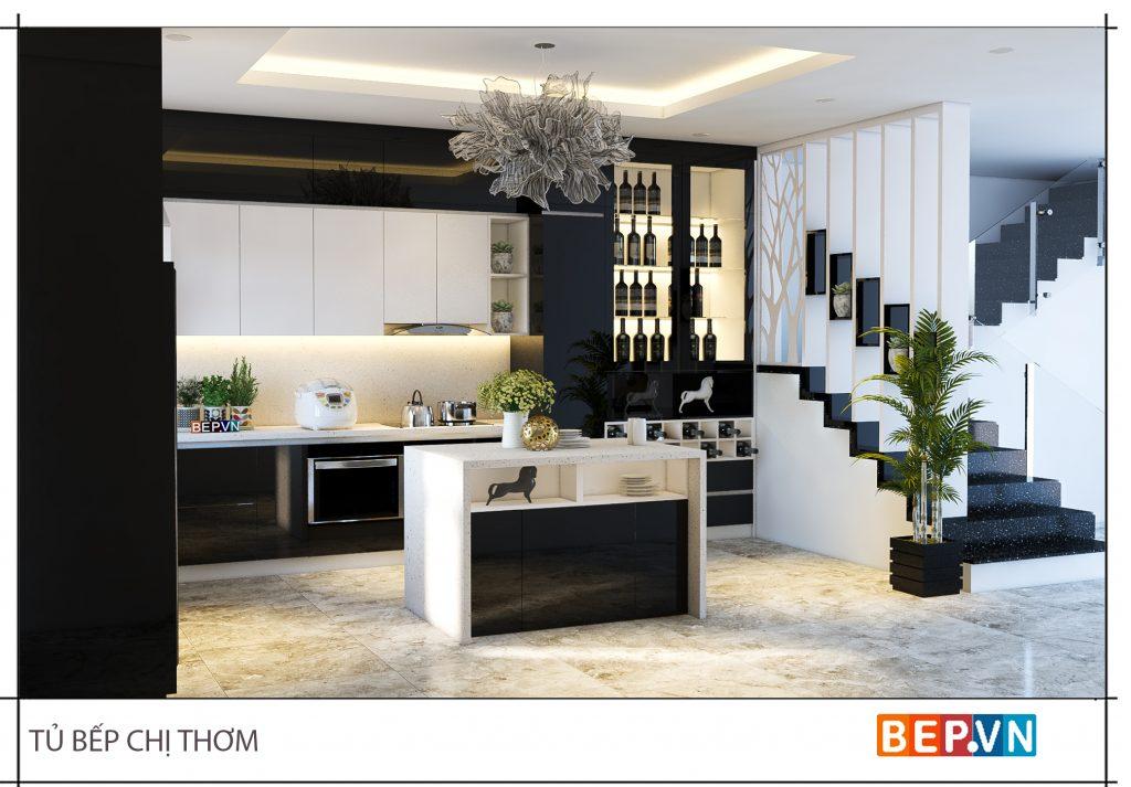 Thiết kế phòng bếp nổi bật, cá tính với hai gam màu trắng đen làm chủ đạo