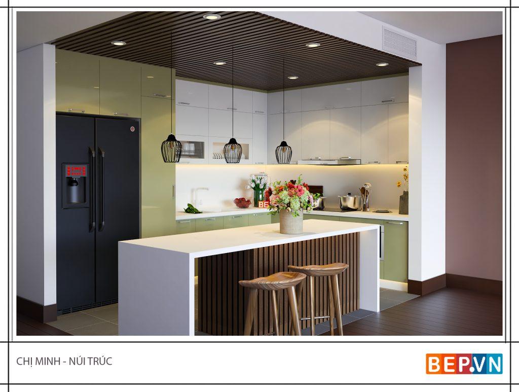 Thiết kế tủ bếp với gam màu xanh nhẹ nhàng, thanh lịch