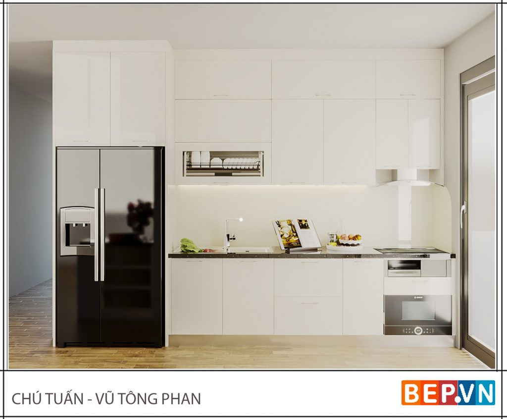 Thiết kế tủ bếp nhẹ nhàng cho nhà bếp thanh lịch, giản đơn