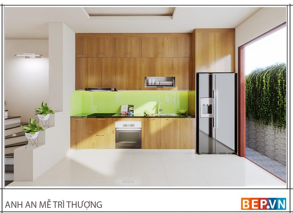 Thiết kế tủ bếp lựa chọn gam màu xanh lá cây làm điểm nhấn