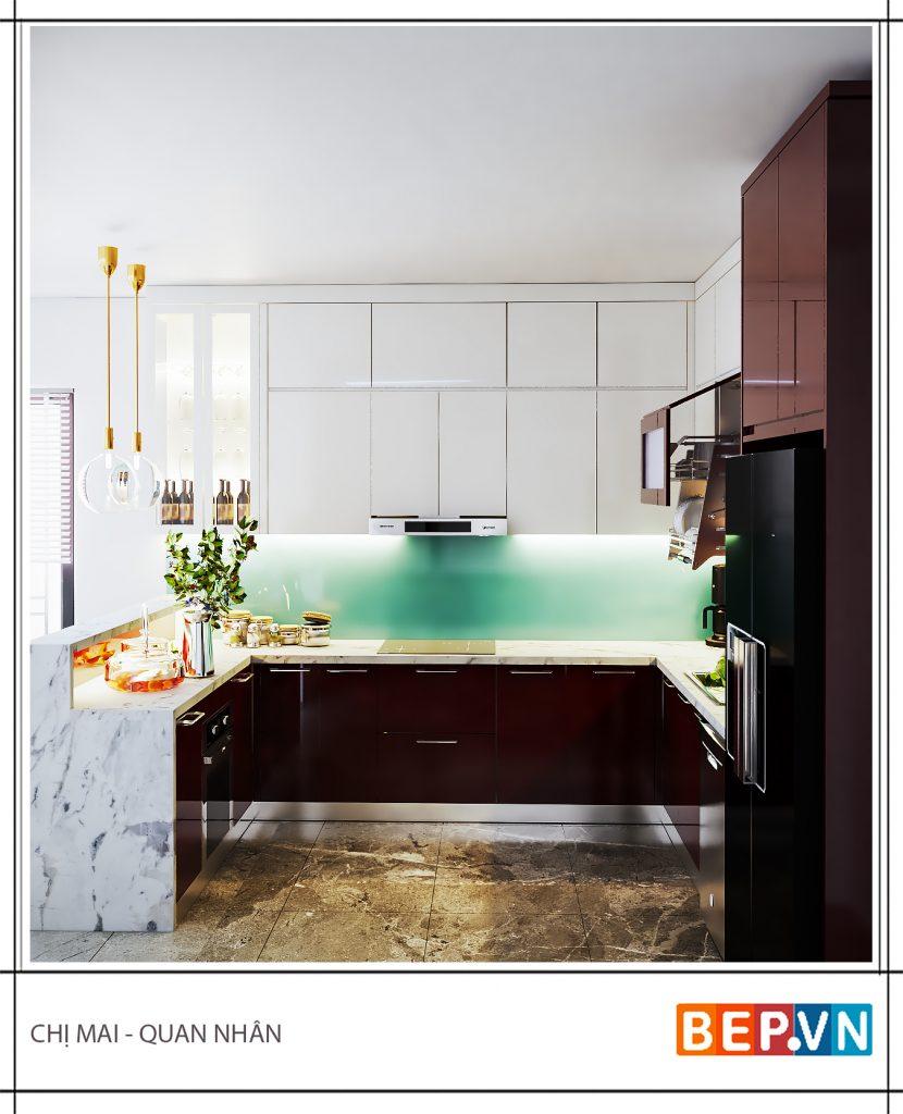 Tủ bếp với điểm nhấn xanh ấn tượng, thu hút