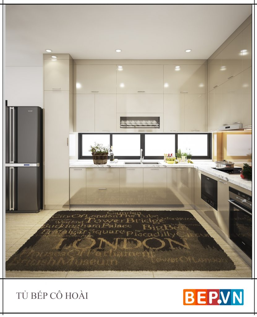 Một tẩm thảm trải sàn nhà cũng trở thành điểm nhấn cho nhà bếp