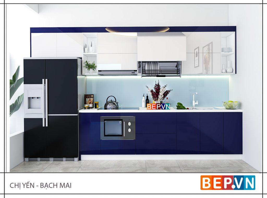 Bạn có thể lựa chọn gam màu xanh đậm cho tủ bếp ấn tượng