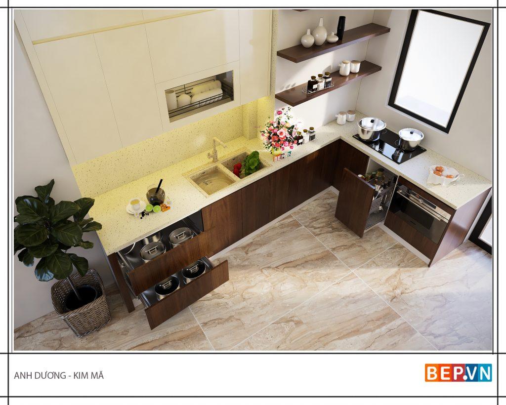 Kết hợp thiết kế tủ bếp mở và tủ kín giúp tận dụng không gian lưu trữ.