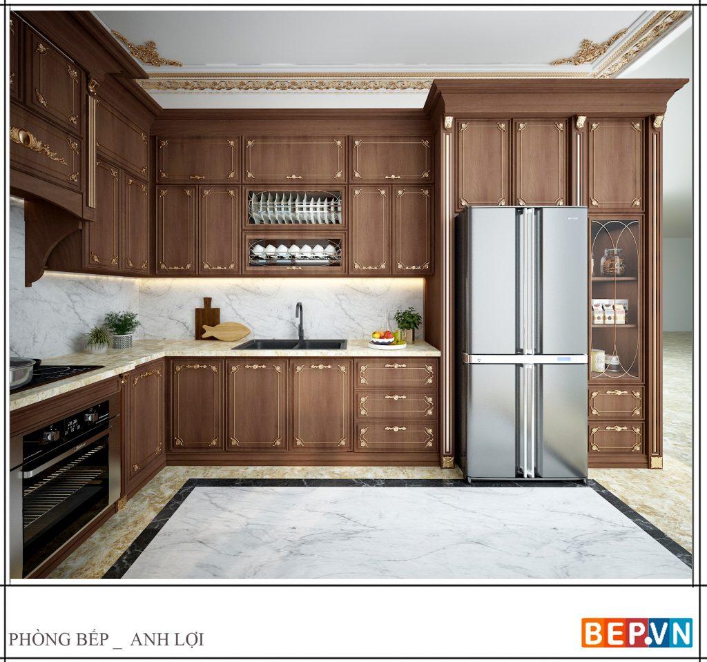 Thiết kế tủ bếp tân cổ điển tinh tế, nhẹ nhàng của gia đình anh Lợi