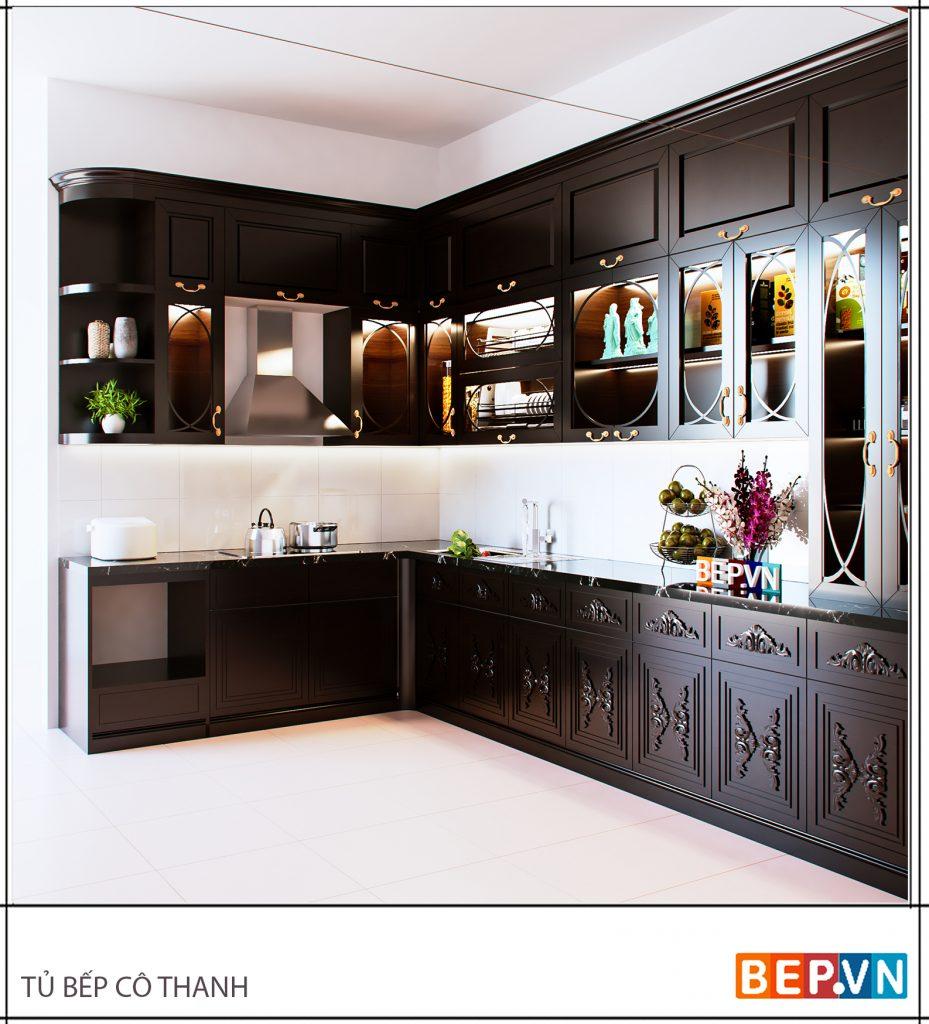 Tủ bếp phía trên thiết kế kính trong suốt thêm chức năng trang trí.
