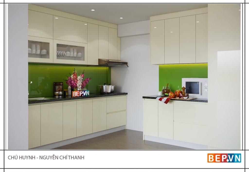 Sử dụng gam màu xanh lá cây làm điểm nhấn cho tủ bếp