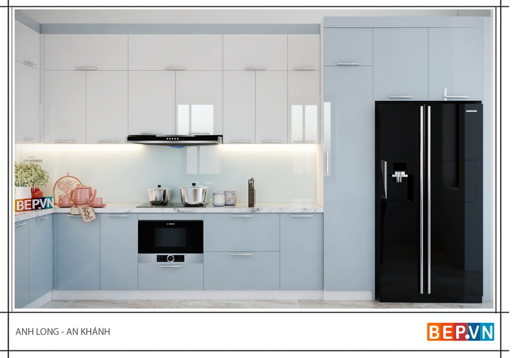 Thiết kế phòng bếp đẹp với gam màu xanh pastel mát dịu
