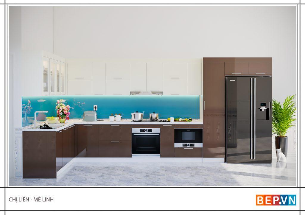 Lựa chọn một gam màu xanh da trời cho tủ bếp nhà chị Liên