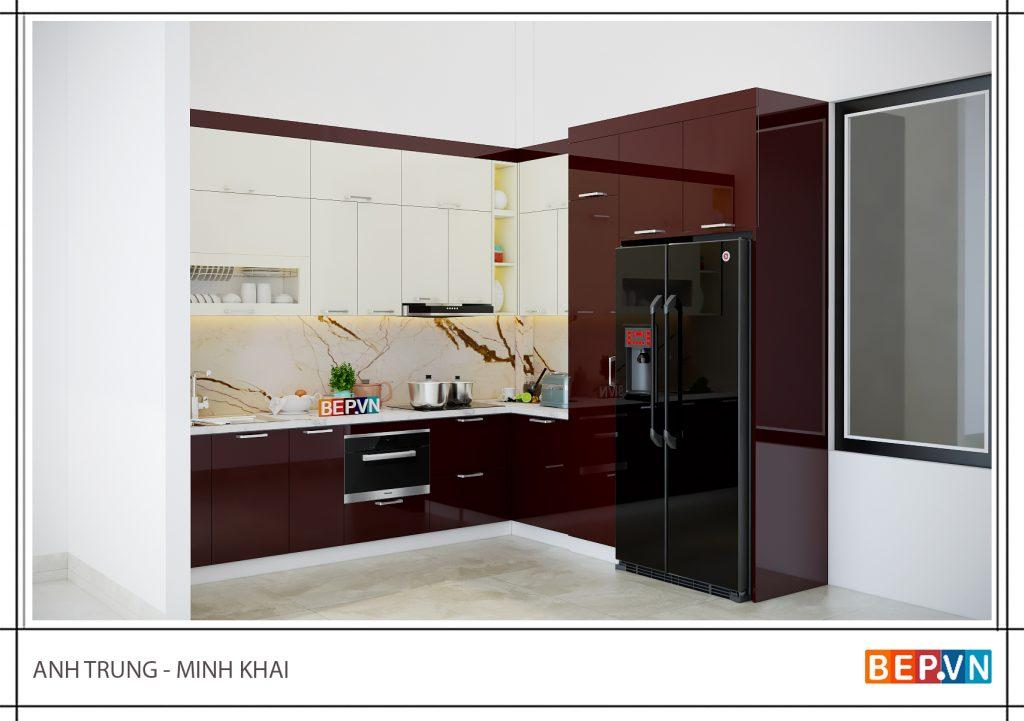 Lựa chọn gam màu đỏ nổi bật cho tủ bếp nhà anh Trung