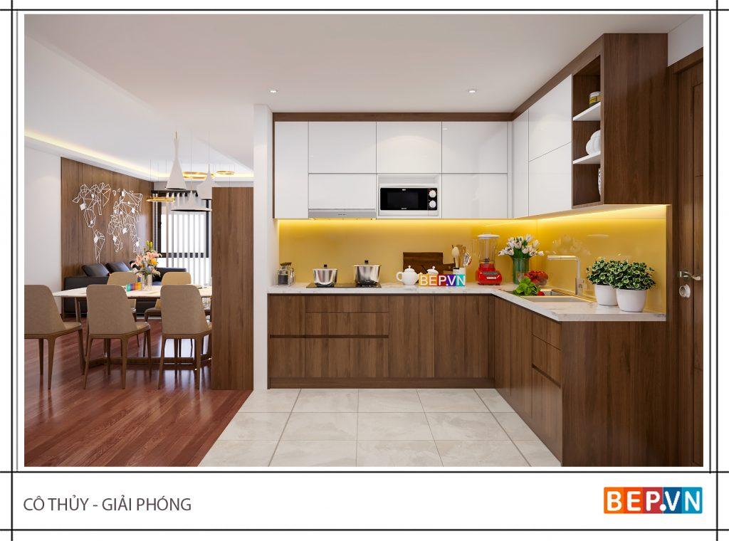 Sử dụng màu gỗ giản dị, mộc mạc cho nhà bếp ấm cúng