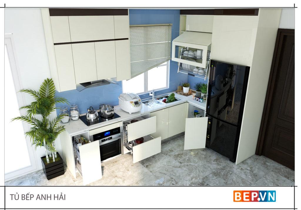 mẫu tủ bếp acrylic chữ L- 50+mẫu tủ bếp đẹp cho nhà nhỏ