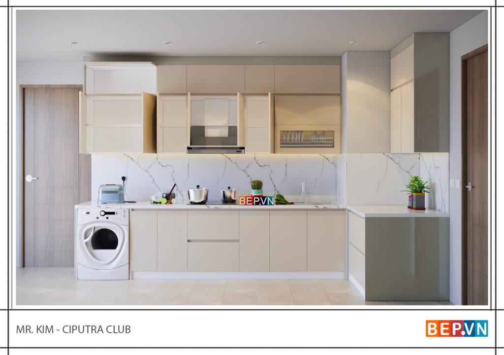 Mẫu tủ bếp acrylic giải pháp tối ưu cho căn bếp chật hẹp
