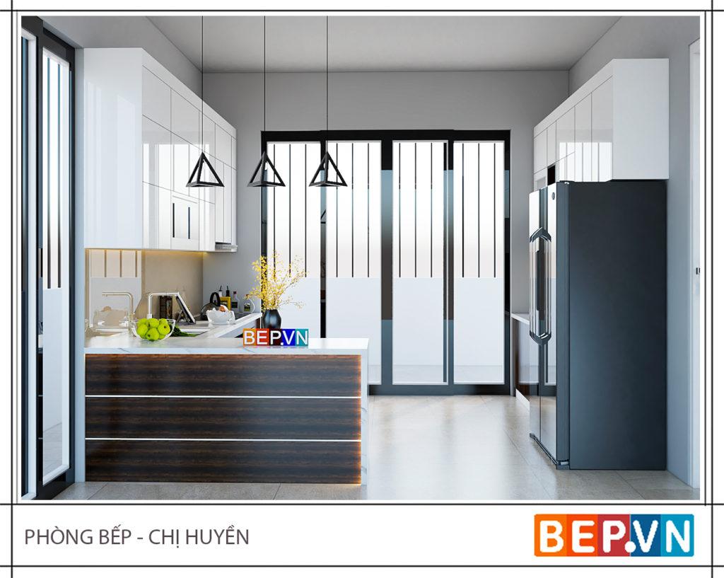 Mẫu tủ bếp Acrylic song song- 50+mẫu tủ bếp đẹp cho nhà nhỏ