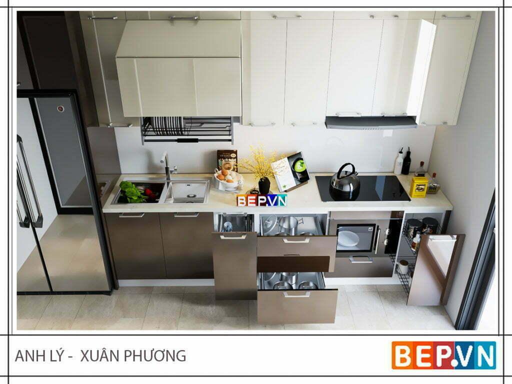 Màu sắc trung tính mang lại giá trị thẩm mỹ cao cho tủ bếp gia đình anh Lý- Xuân Phương.