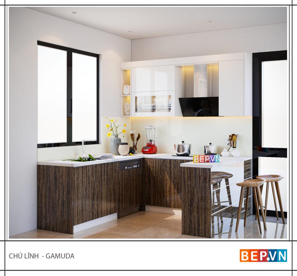 Tủ bếp hiện đại và đơn giản gia đình chú Lĩnh- Gamuda.