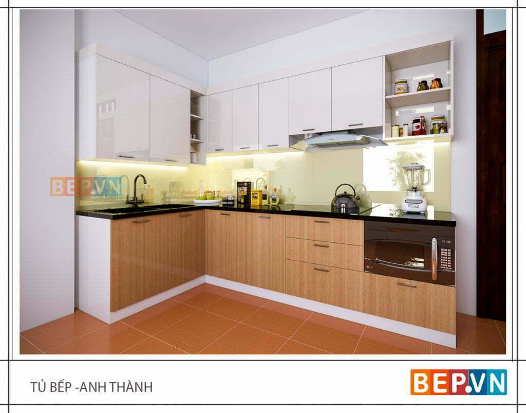 Không gian hài hòa trong nhà bếp nhỏ 2m gia đình anh Thành.