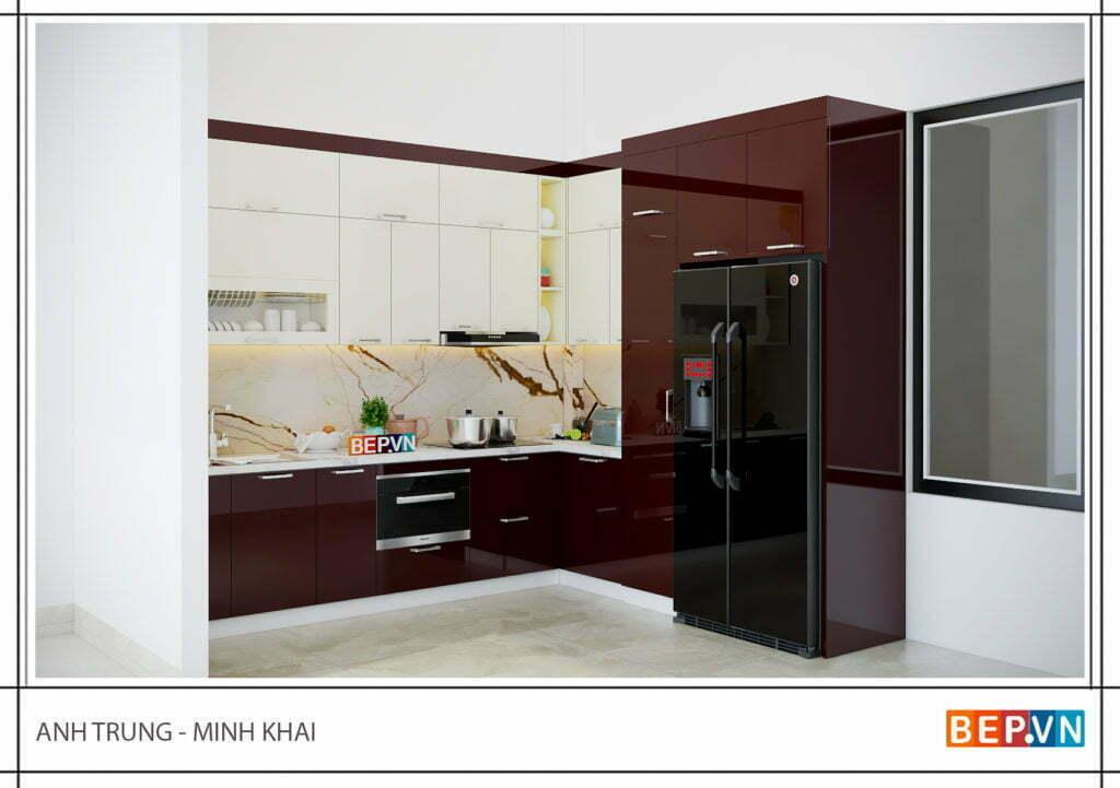 Tủ bếp Acryic sáng bóng nhận được sự hài lòng của anh Trung- Minh Khai.