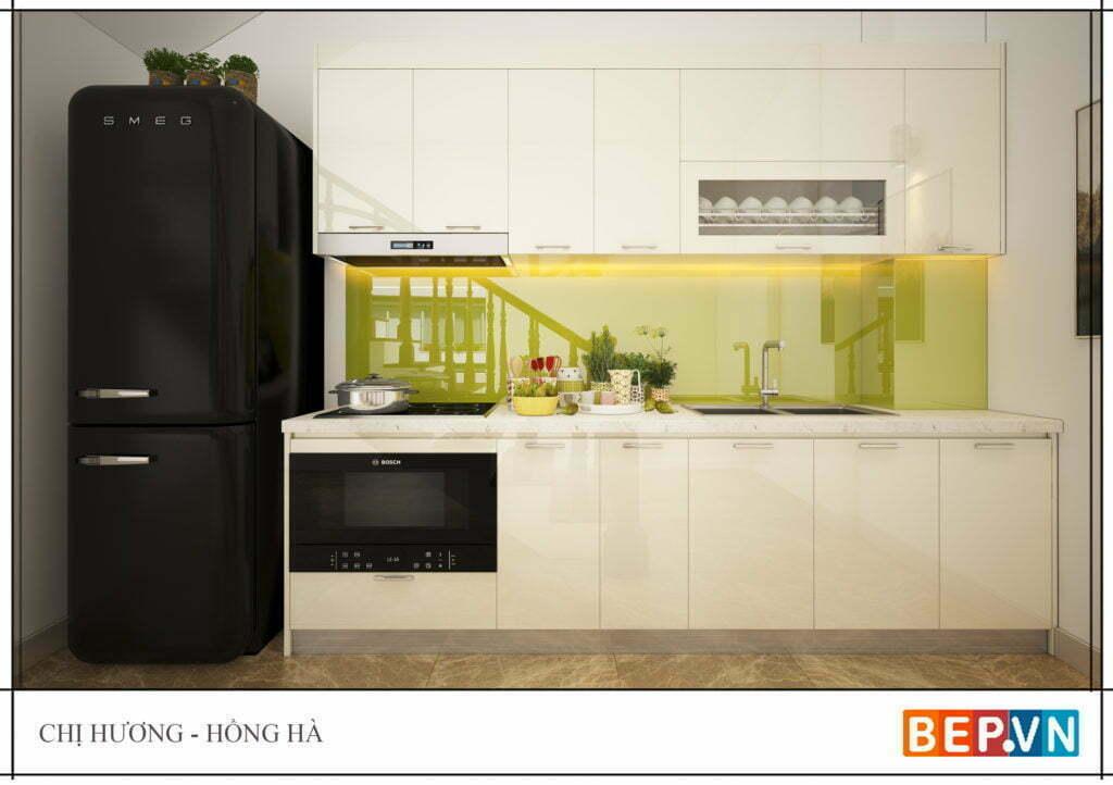 Tủ bếp nhỏ xinh đảm bảo thẩm mỹ và đầy đủ công năng  gd chị Hương-Hồng Hà.