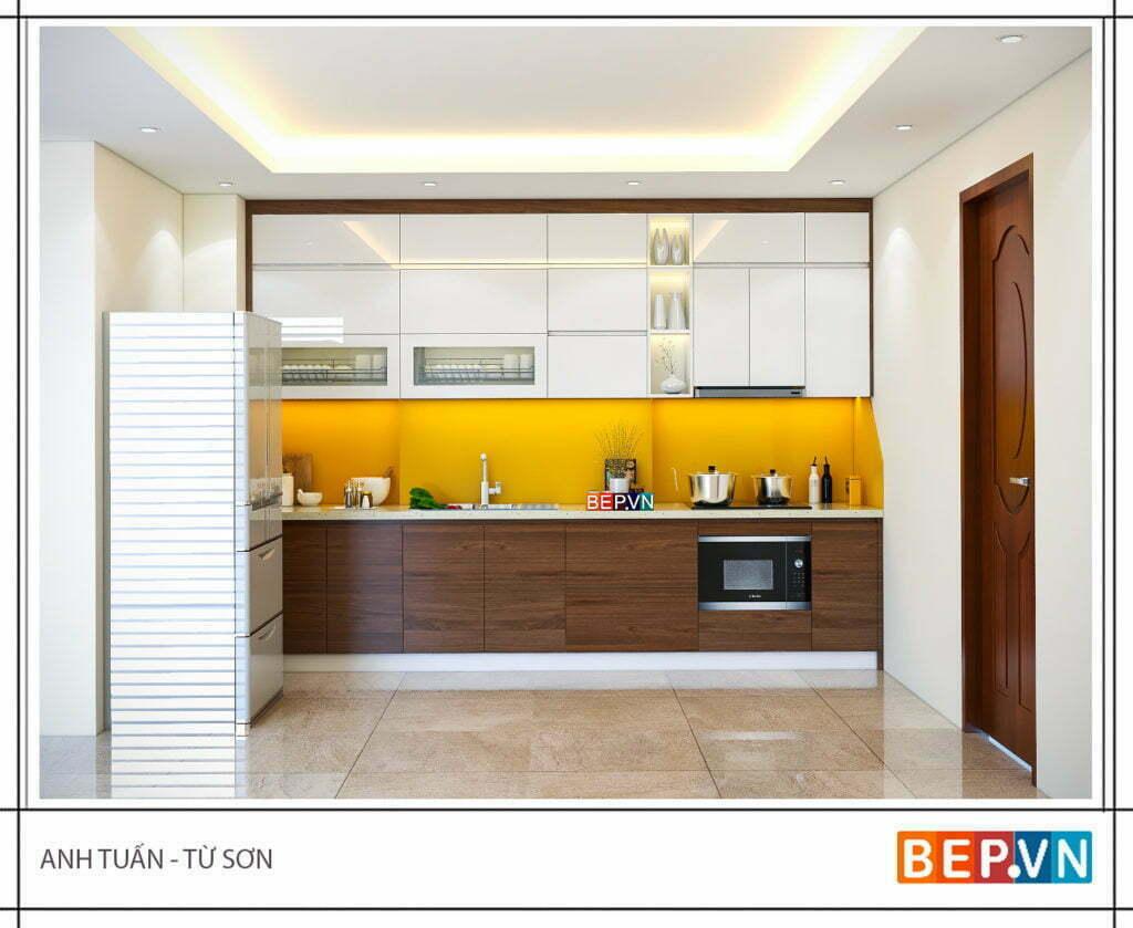 Sự kết hợp Laminate và Acrylic trong thiết kế tủ bếp nhỏ gia đình anh Tuấn.