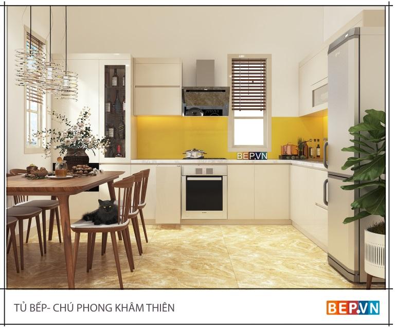 Mẫu tủ bếp nhỏ mới nhất dành cho không gian hạn chế gd chú Phong