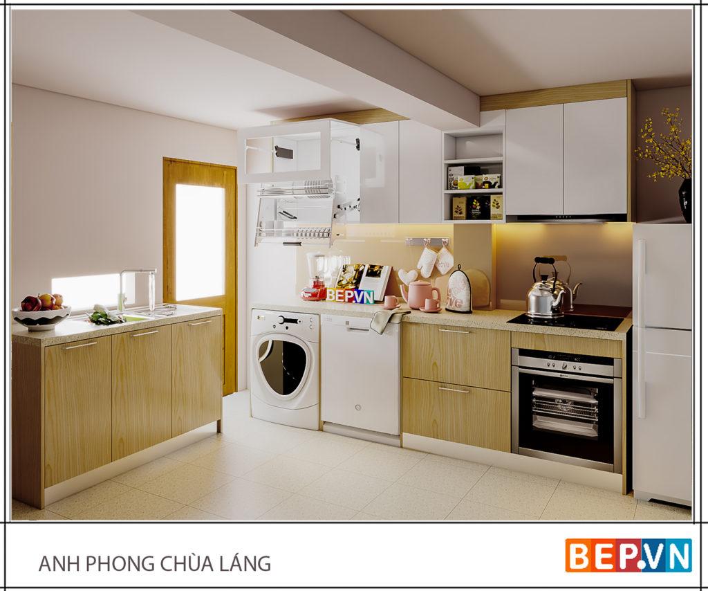 Mẫu tủ bếp nhỏ dưới cầu thang gia đình anh Phong