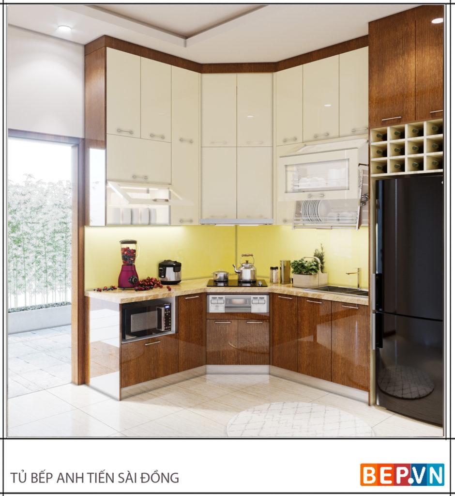 Thiết kế tủ bếp ốp trần cho nhà nhỏ