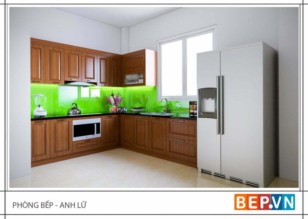 Mẫu tủ bếp nhỏ bằng gỗ tự nhiên đơn giản nhưng vô cùng hiện đại gia đình anh Lữ.