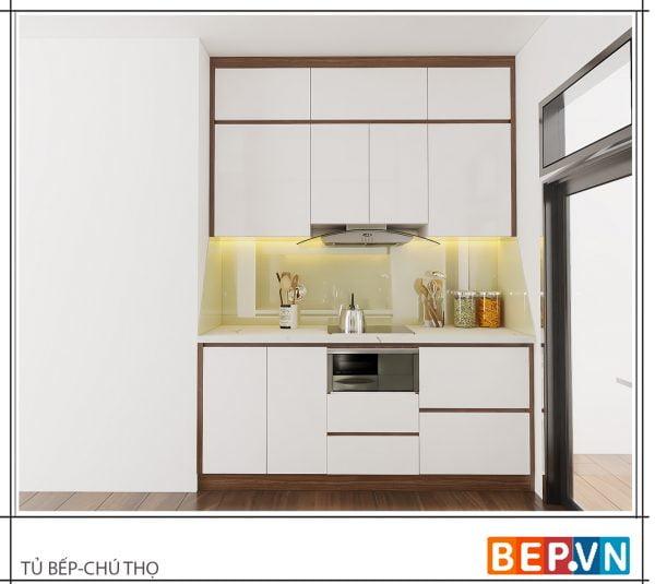 Mẫu tủ bếp ốp trần cho nhà bếp nhỏ 2m đầy đủ thiết bị hiện đại.